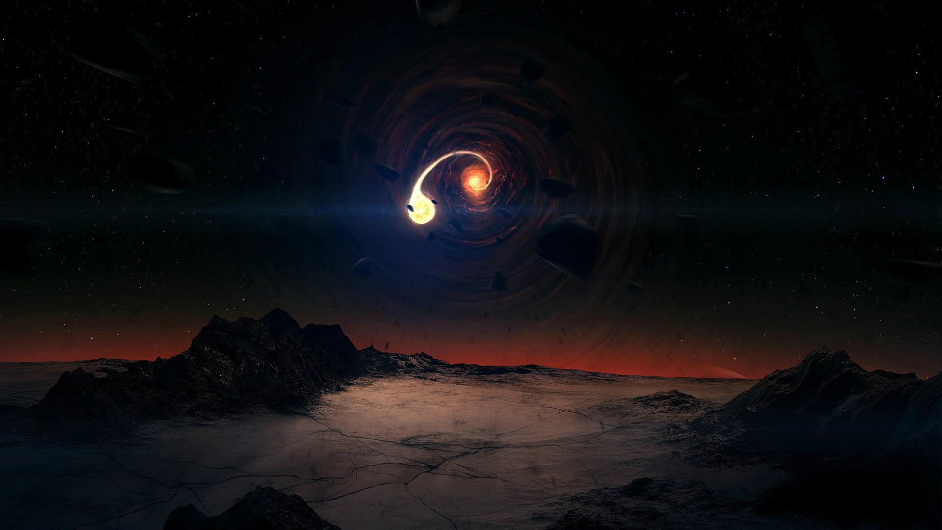 interstellar black hole wallpaper