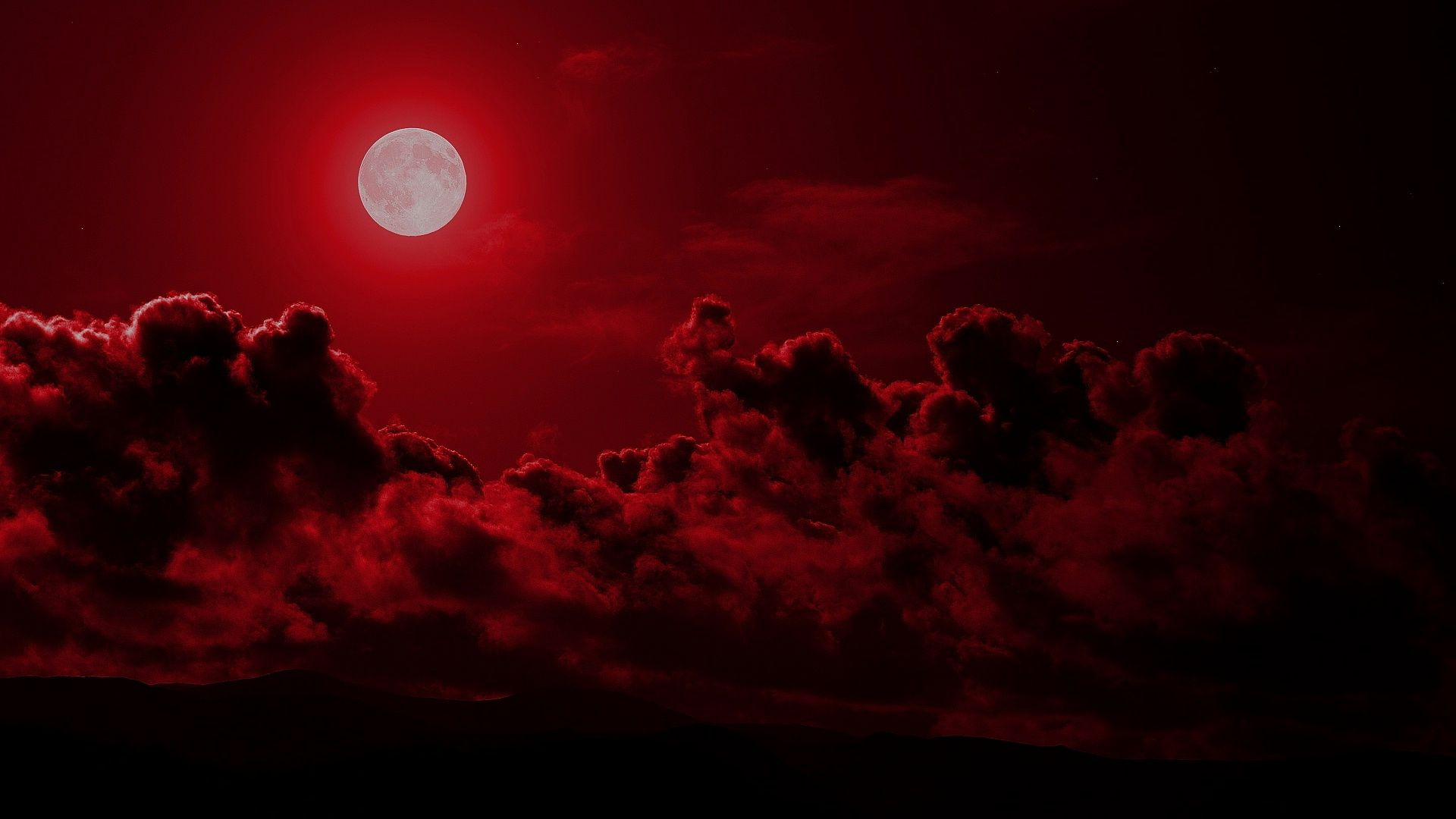 blood moon wallpaper, red moon 1920x1080