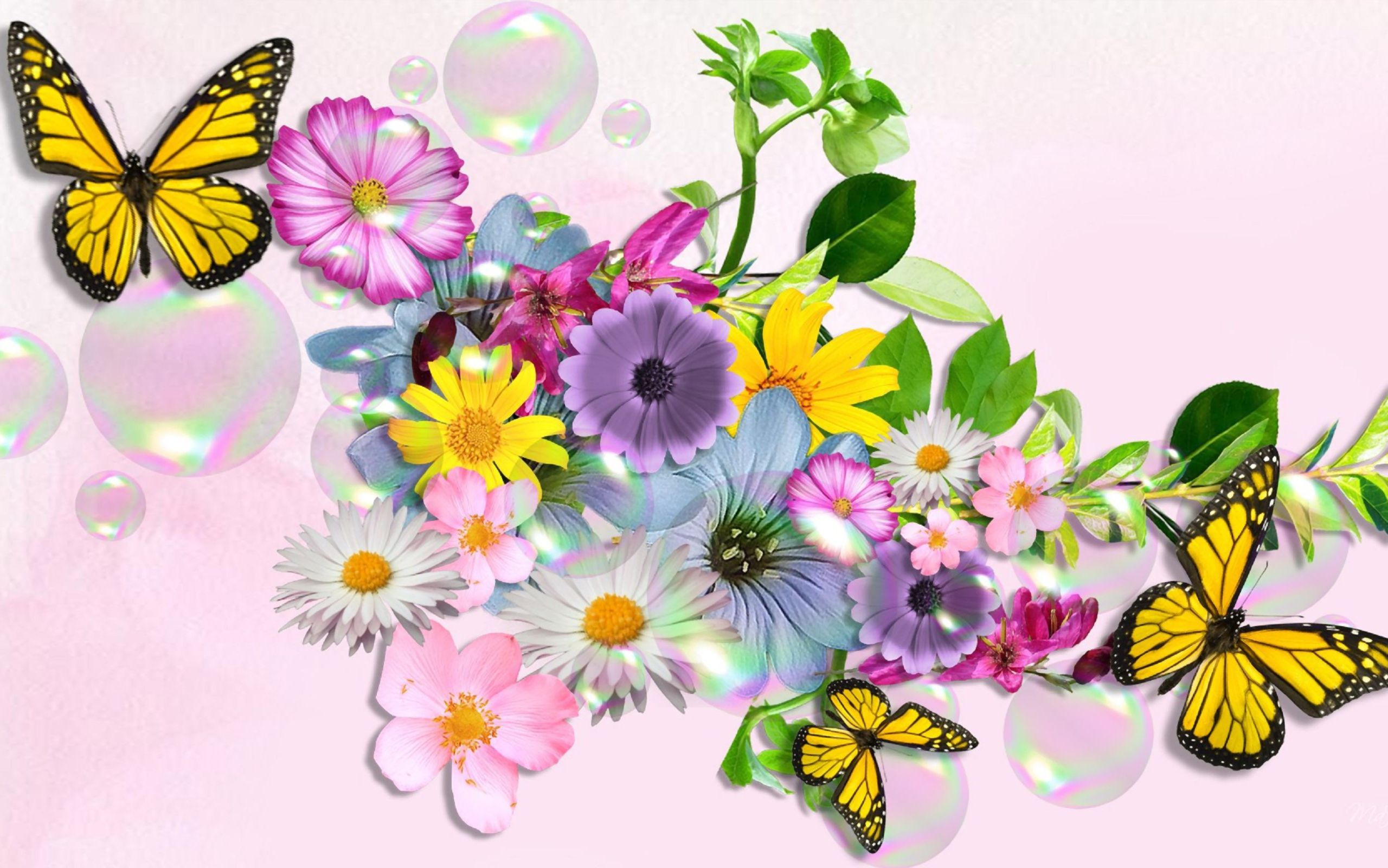 wallpapers of flowers and butterflies