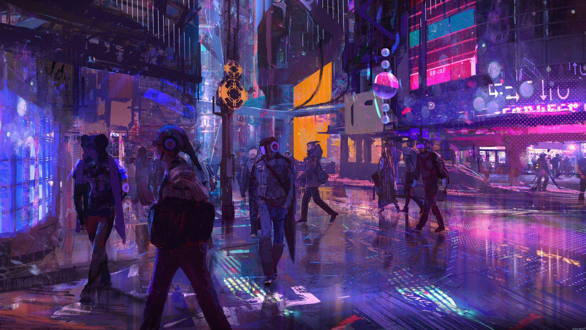 cyberpunk landscape wallpaper