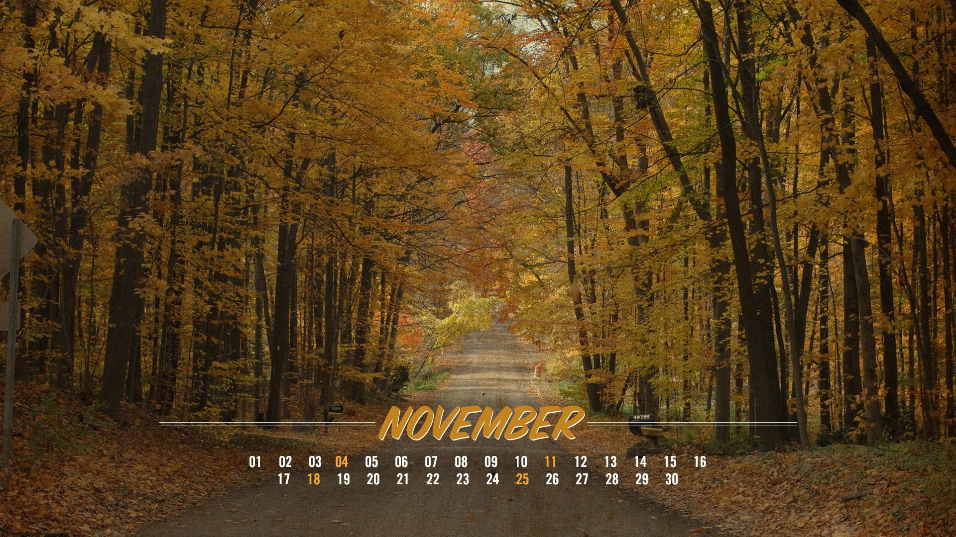 4k november 2019 calendar wallpaper