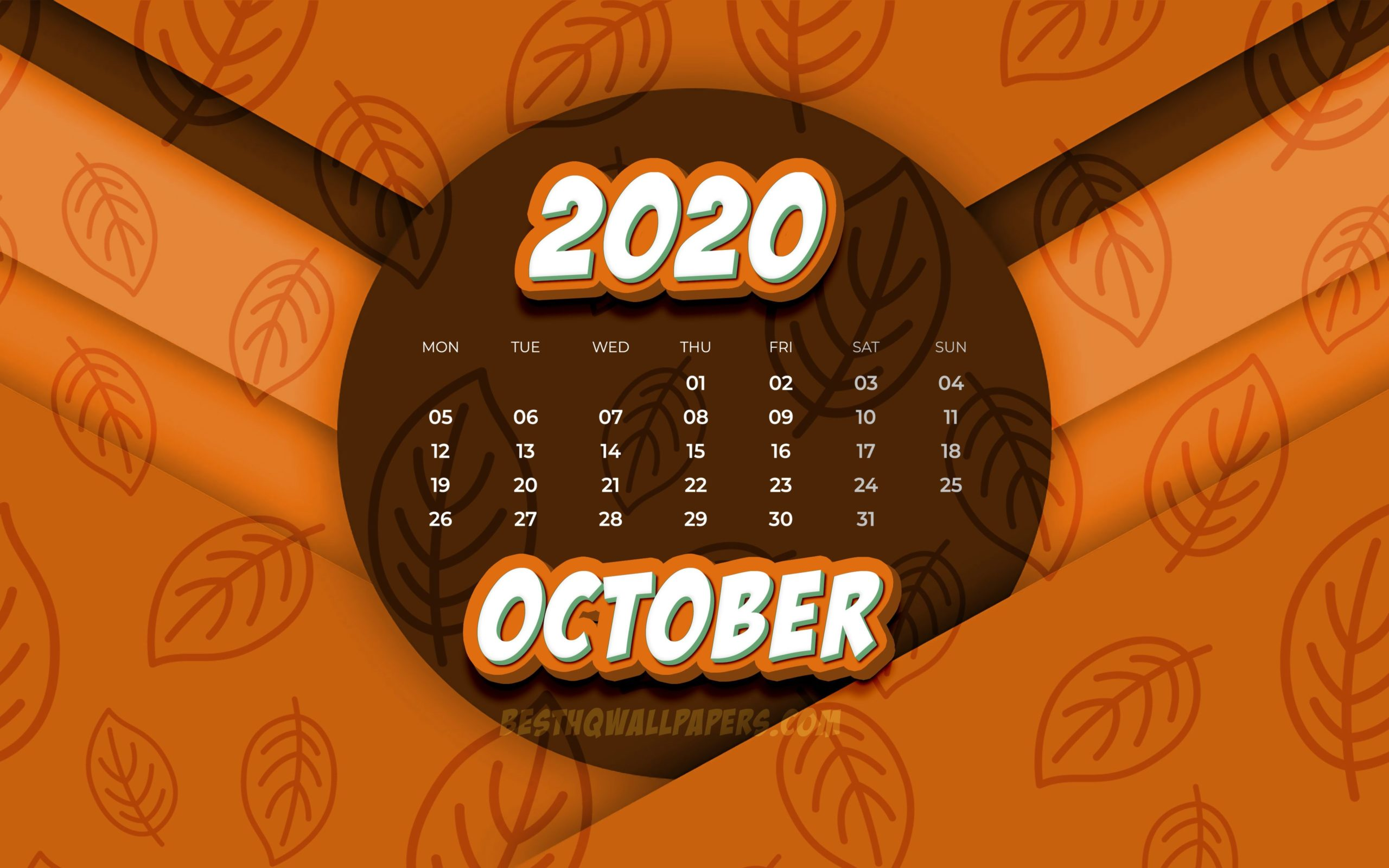 october wallpaper calendar