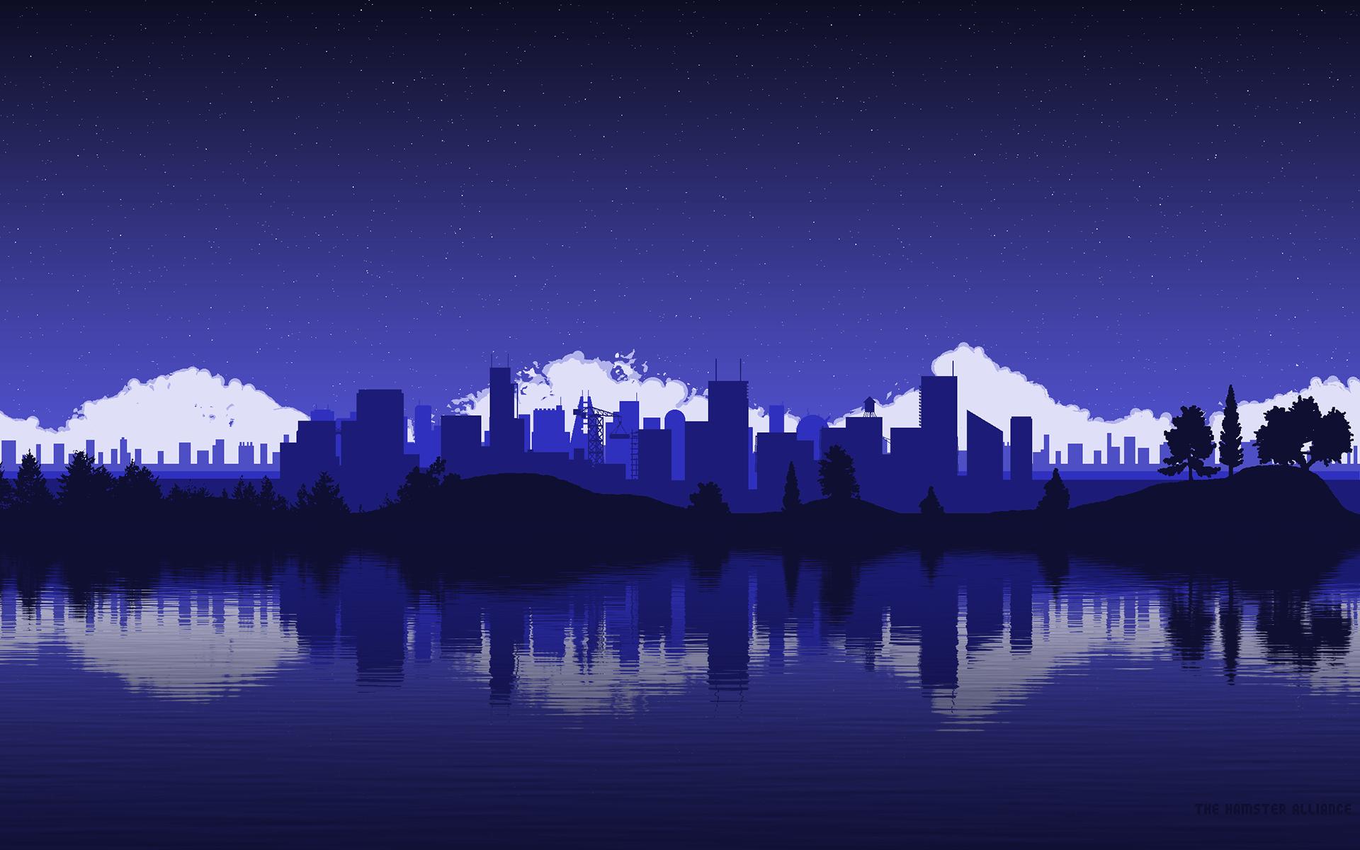 city pixel art wallpaper