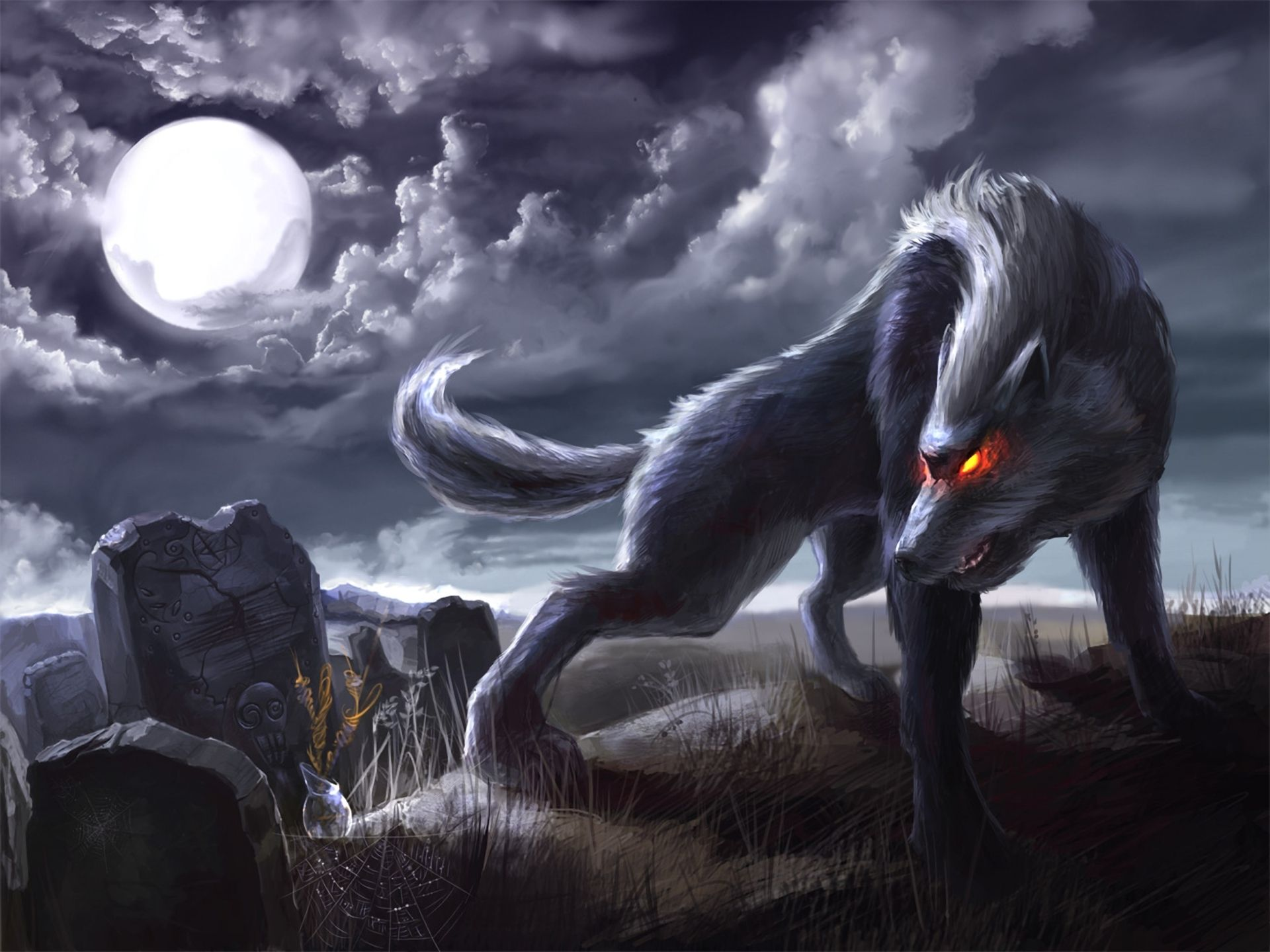 black and white anime wolf, werewolf images