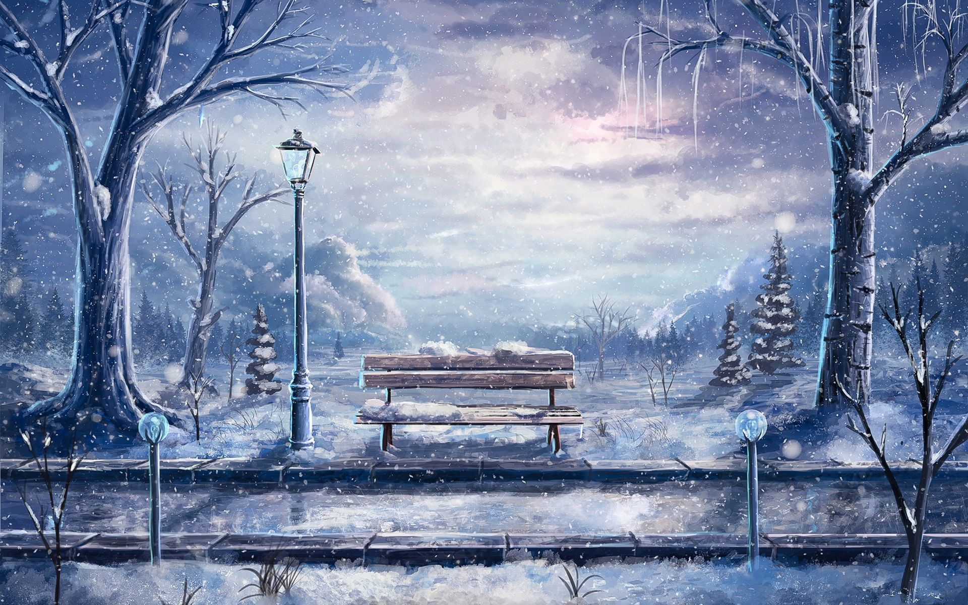 free winter scene wallpaper